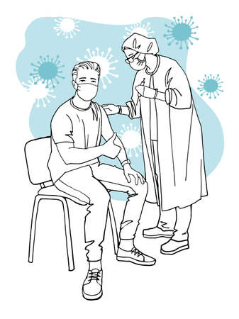 The man is pleased that he was vaccinated against covid. A doctor giving a shot of a vaccine. Hand drawn sketch. Isolated on white background.