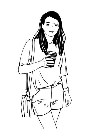 Girl drinking coffee. The girl has a watch on her hand. Line art. Hand drawn sketch. Black and white vector illustration. Ilustracja