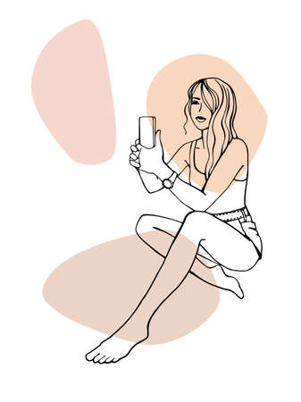 Pretty girl on the beach takes pictures by phone. Hand drawn line sketch. Ink drawing. Isolated on white background. Trendy colors blobs.