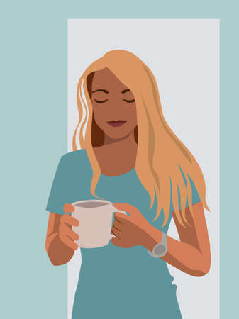 Girl in blue drinking coffee from a large cup. The girl has a watch on her hand. Digital flat illustration. Color vector image