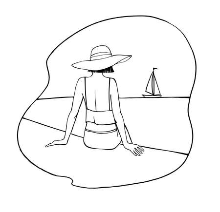 A young adorable girl with hat sits on the seashore and looks at the boat. Vacation at the sea. Boats, yachts, ships. Hand drawn line sketch. Line art. Summer vector illustration on white.