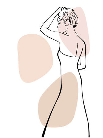 Romantic girl in a summer dress. Hand drawn line sketch. Ink drawing. Line art. Vector illustration on white Ilustracja