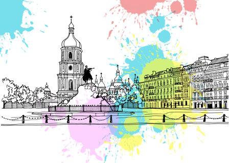 Vintage postcard style. Urban landscape in hand drawn sketch style. Nice cityscape of old Kiev, Ukraine. Ink line sketch. Vector illustration in sepia.