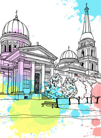 Nice cityscape of old Odessa, Ukraine. Urban landscape in hand drawn sketch style. Ink line sketch. Vector illustration on digital blobs background. Without people.
