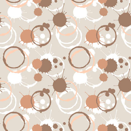 Coffee blobs seamless pattern. Hand drawn sketch style. Colorful background for food and drink design.