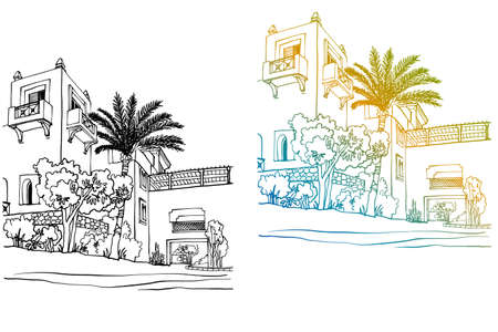 Two Beautiful Egypt landscapes with palm trees. Hand drawn line ink sketch. Seaside holiday. Colorful and black and white vector Illustrations on white background. Ilustracja