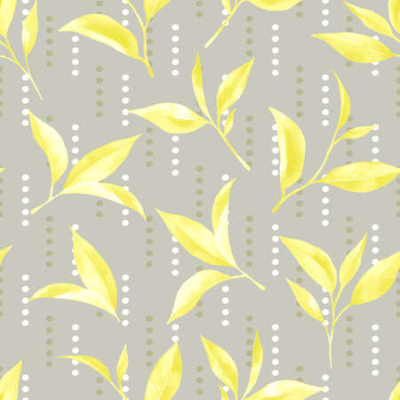 Tea leaves seamless pattern. Food background with tea leaves watercolor in hand drawn style. Tea background for paper, textile, wrapping and wallpaper.