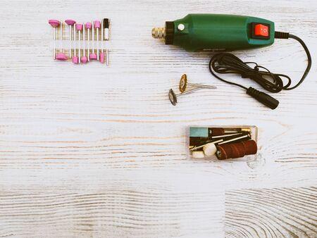 mini drill on wooden background Zdjęcie Seryjne