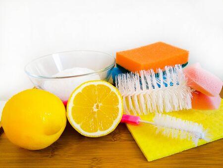 lemon with soda sponge rags composition Stock fotó