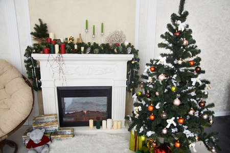 red carpet background: Christmas interior. The Christmas tree. Fireplace. Scenery. Decoration. Gift.