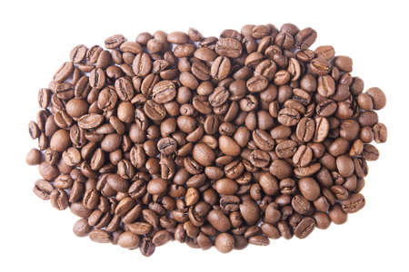 A lot of dark brown coffee beans. White background.