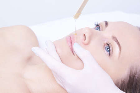 Hair removal. Cosmetic procedure. Beauty and health. Bright skin. 스톡 콘텐츠 - 104027052