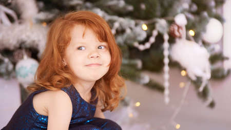 Portrait of little girl. New Year xmas child. Christmas eve holiday. interior. interior. Horizontal. Banque d'images - 113610352