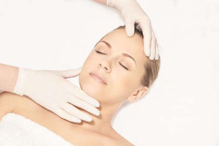 Facial face spa cosmetology procedure. Skin care. Lift plastic anti age.