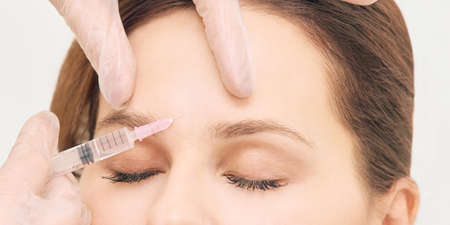 Prp plasma treatment. Facial rich cosmetology injecting. Woman, doctor hands. Patient clinic. Stok Fotoğraf