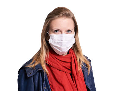 young girl in protection mask. Allergy and flu person equipment. Safety medical protect.