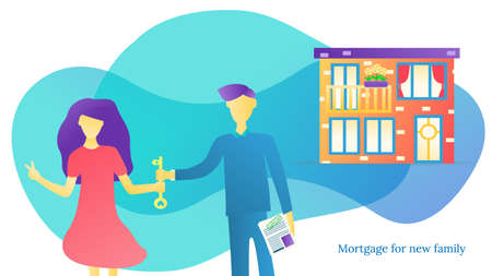 Mortgage loan flat vector illustration. People outside home. Real estate contract. Rental house. Couple relocation. Illustration