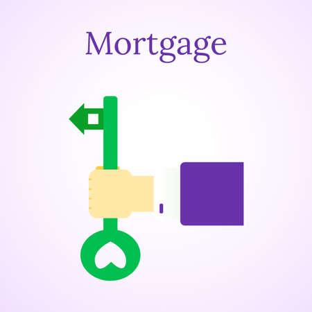 Mortgage loan icon. House buy. Real estate illustration. Home and key. People hands. Vector image.