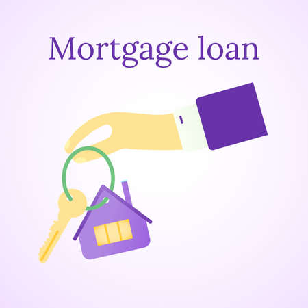 Mortgage loan icon. House buy. Real estate illustration. Home and key. People hand. Vector image.