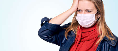 Girl in mask on face. Woman portrait. Protection equipment. Epidemic flu sick. Healthcare quarantine illness. Stok Fotoğraf