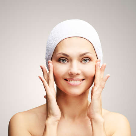 Natural beauty portrait with hands. Cosmetology mature woman face. Cosmetic cream. Skin care. Elegant girl.