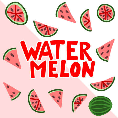 Watermelon vector lettering. Red and green background. Tropical food graphic text. Full slice seed. Zdjęcie Seryjne - 132395019