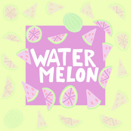 Watermelon vector lettering. Red and green background. Tropical food graphic text. Full slice seed. Zdjęcie Seryjne - 132395020