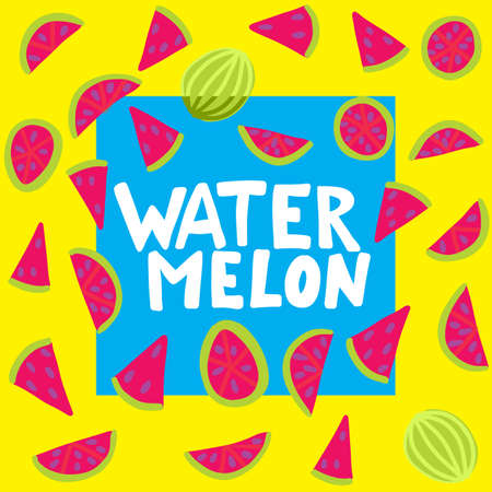 Watermelon vector lettering. Red and green background. Tropical food graphic text. Full slice seed. Zdjęcie Seryjne - 132395023