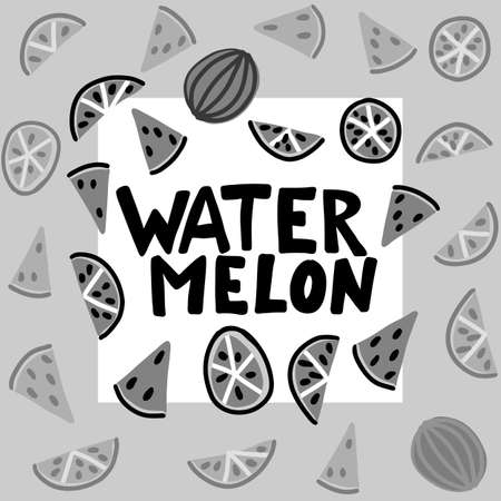 Watermelon vector lettering. Red and green background. Tropical food graphic text. Full slice seed.