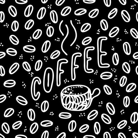 coffee lettering phrase. One word color quote. Mug and beans. Circle round design form. Vector illustration art. Zdjęcie Seryjne - 132395032