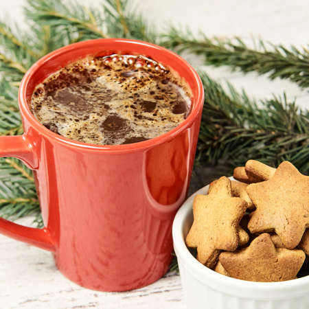 Big cup of coffee. Gingerbread Cookie. NewYear. Christmas tree.