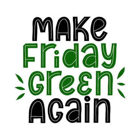 Maker friday Green again. Sale shop typography. Shopping sticker.