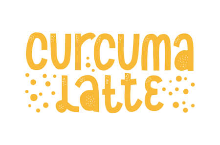 Turmeric latte label. Caligraphic hard drawn curcuma coffee.