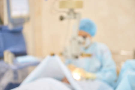 Cool medical blur background. Ambulance veterinary room. Blue hospital corridor. Dentistry medicine interior. Clinic science ambulance. Pharmacy blurry lab place. Zdjęcie Seryjne