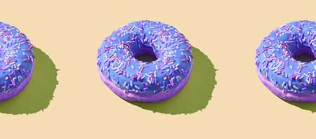 Many donuts horizontal pattern. Set same cakes concept. Hard shadow. Top view colorful background. Purple, beige colors. Unhealthy food art. Circle bright dessert 写真素材