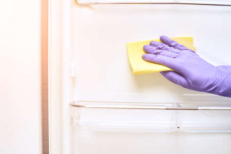 Hand in protective glove cleaning fridge.