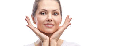 Happy pretty woman. Skincare concept. Foto de archivo