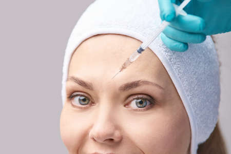 Cosmetology skin care. Face derma injection.