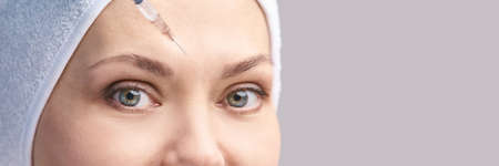Cosmetology skin care. Face derma injection. Facial treatment. Nanotechnology. Woman dermatology doctor. Micro needle. Rejuvenation salon procedure. Eyebrow filler. Anti aging medical concept.