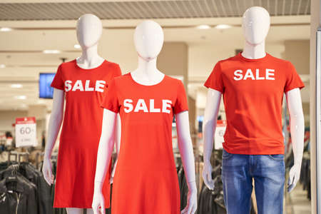 Sale red sign at mall. Discount concept. Market interior design. Selling business model. Lifestyle promotion. Store t-shirt graphic. Shop background. Boutique. Retail commercial price. Money offer