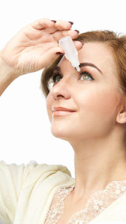 Woman using eye drops. Medicine treatment. Eyecare human problem. Ophtalmology dropper. Home optometry healthcare. Glaucoma problem ache.