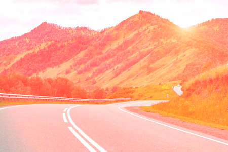 Vacation roadtrip landscape. Russian Altai mountains. Multa region. Holiday at home. Staycation concept. Long distanse road. Reduce carbon footprint. Sustainable lifestyle. Holiday trail. Local travel