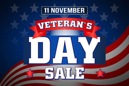 The illustration of Veterans Day, November 11, flag, America, USA, sale, poster.