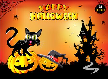 Happy Halloween, funny cat sitting on a pumpkin, illustration, poster, orange background.