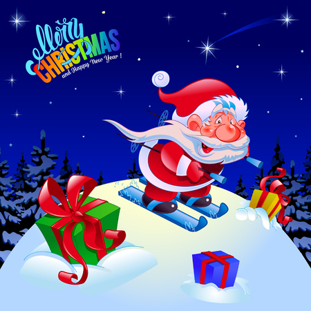 Merry christmas and a happy new year. Congratulation. Illustration. Funny Santa on skis. Dark blue background. Postcard, poster. Ilustracja