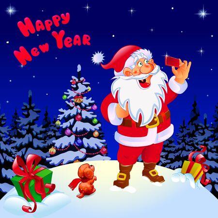 Happy New Year. Congratulation. Santa makes selfie near the Christmas tree. Gifts color green, yellow. Иллюстрация