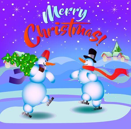 Merry Christmas. Snowmen on skates. Illustration for the holiday. Background purple, blue. Иллюстрация