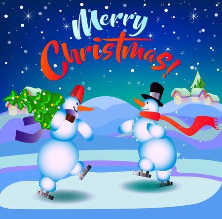 메리 크리스마스. 스케이트에 눈사람입니다. 휴일에 대 한 그림입니다. 배경은 진한 파란색입니다.