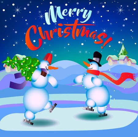 Merry Christmas. Snowmen on skates. Illustration for the holiday. The background is dark blue.