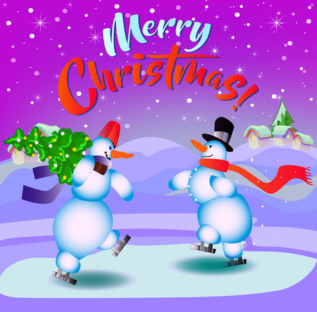 Merry Christmas. Snowmen on skates. Illustration for the holiday. Background lilac. Ilustrace